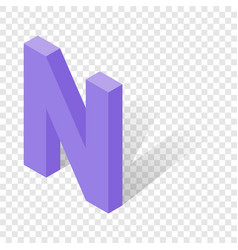 N letter in isometric 3d style with shadow vector