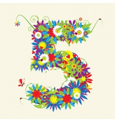 number 5 floral design vector image