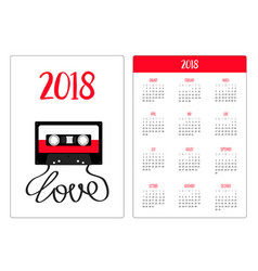 Pocket calendar 2018 year week starts sunday vector