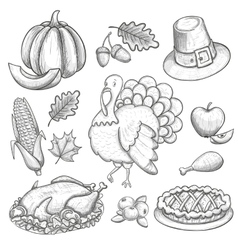 Set of thanksgiving icons vector