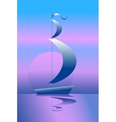 Ship on the sea in the moonlight vector image vector image