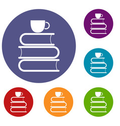 Stack of books and white cup icons set vector