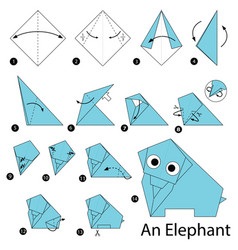 Step instructions how to make origami an elephant vector