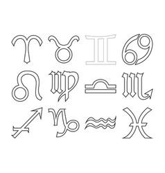 thin line horoscope icon set vector image vector image