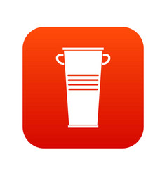 Trash can with handles icon digital red vector
