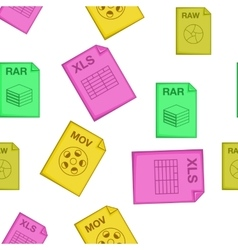 Types of files pattern cartoon style vector