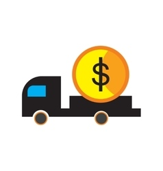 Modern flat icon with shadow car and money vector