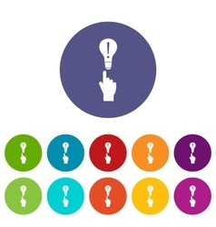 A finger pointer and light bulb set icons vector