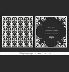 Laser cutting frame and damask panel set square vector