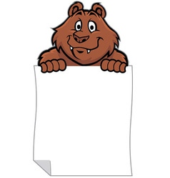 funny bear hold a blank paper vector image