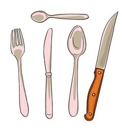 Kitchen cutlery vector