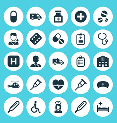 Medicine icons set collection of nanny analyzes vector