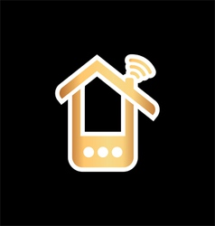 Paper phone house over black vector