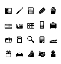 Silhouette Office tools Icons vector image