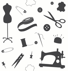 Seamless pattern with sewing machine vector