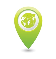 plane AND globe GREEN map pointer vector image