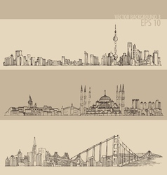 Shanghai Istanbul San Francisco big city vector image