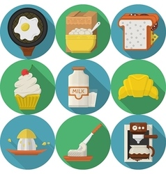Flat color round icons for breakfast vector