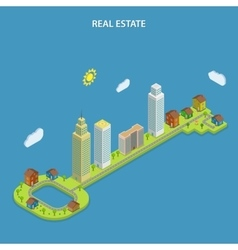 Real estate online searching isometric concept vector