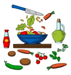 Vegetarian vegetable salad cooking process vector