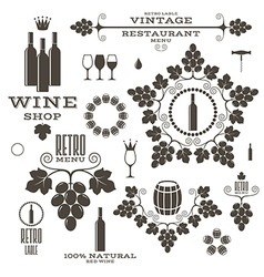 Wine Barrel Bottle Wineglass vector image