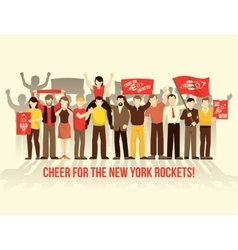 Cheering crowd people retro style composition vector