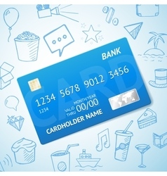 Credit card with set of doodle icons hand vector