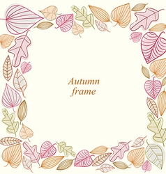 Autumn frame made of leaves vector image
