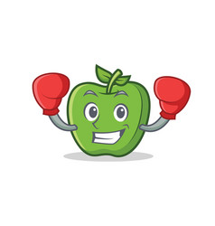 Boxing green apple character cartoon vector
