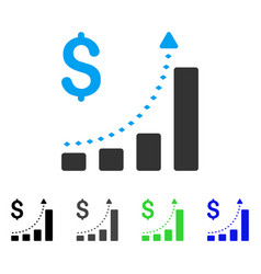 business bar chart positive trend flat icon vector image