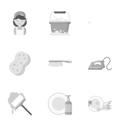 Cleaning set icons in monochrome style big vector