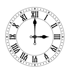 Clock black clock face with roman numerals vector