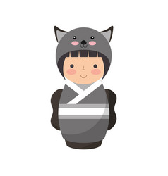 cute japanese doll with a disguise of a mouse vector image