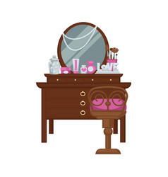 dressing table with woman accessories and chair vector image
