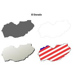 El dorado county california outline map set vector