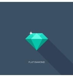 Flat diamond with shadow vector image