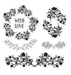 Floral design elements set frames and borders vector