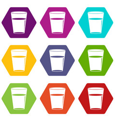 glass water icon set color hexahedron vector image vector image