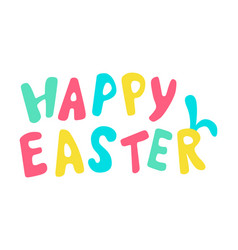 happy easter colored lettering with rabbit ears vector image vector image