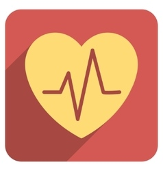 Heart ekg flat rounded square icon with long vector