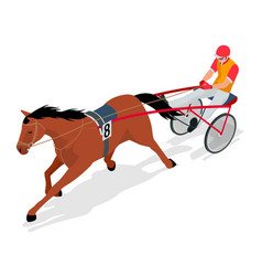 Isometric jockey and horse racing horse competing vector