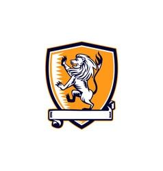 Lion prancing crest woodcut vector