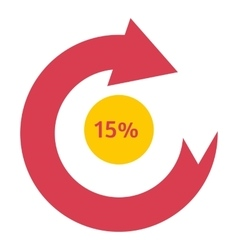 Loading circle 15 percent icon flat style vector