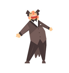 Male opera singer character cartoon vector