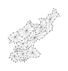 north korea map of polygonal mosaic lines network vector image vector image