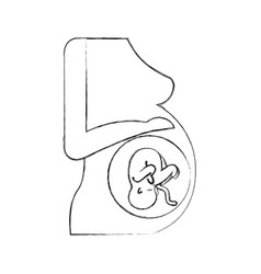 Pregnant woman with her fetus vector