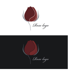 Rose logo clipart white and black vector