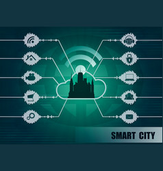 smart city background vector image vector image