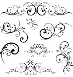 Swirling flourishes decorative floral elements vector