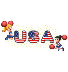The USA cheerdancers vector image vector image
